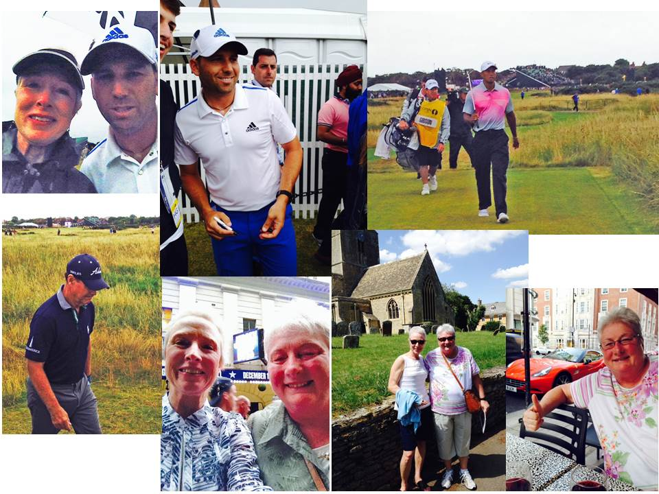 My sister, Deborah, hosted me last month on a dream vacation to the British Open and sights of London. At top left is my selfie with Sergio Garcia. Other pros we were able to see up close included Tiger Woods and Tom Watson. Bottom row photos show Deb and I before the play Jersey Boys, on a Downton Abbey tour and Deb trying to figure how we could make off with the Ferrari parked outside our restaurant.